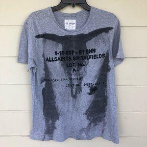 All Saints Gray T Shirt Graphic Print Cow Skull M